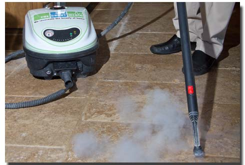 Steam cleaning grout tiles